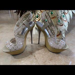 Bebe White Heels size 6.5
